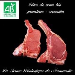 Succulente côte de veau bio , premières secondes en direct de la ferme biologique de Normandie.