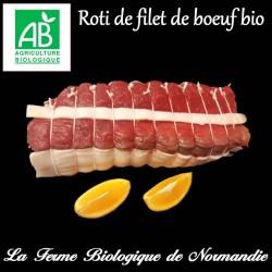 Succulent rôti de filet de boeuf bio, extra tendre, en direct du producteur, la ferme biologique de Normandie.