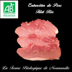 Savoureuses entrecôtes de porc fermier bio, filet, 500g.