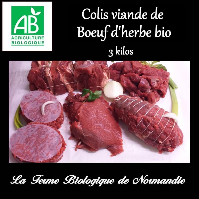 Colis de boeuf d'herbe  bio poids 3 kilos, plat cotes, bifteck, bourguignon et basse côte,préparation hachée de boeuf.