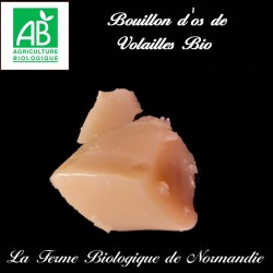 Bouillon d'os de volailles bio, riche en collagène en direct du producteur la ferme biologique de Normandie.