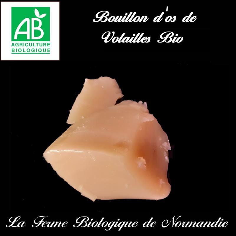Bouillon d'os de volailles bio, riche en collagène en direct du producteur la ferme biologique de Normandie.