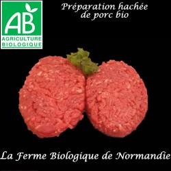 Délicieux steaks hachés de porc fermier bio, en direct du producteur, la ferme biologique de Normandie.