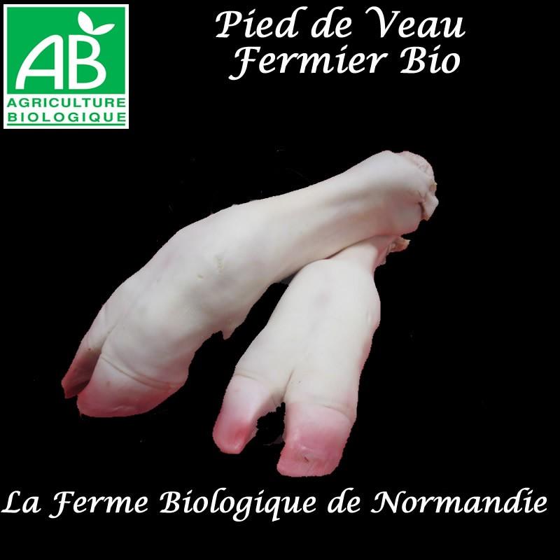 Délicieux pied de veau fermier bio, poids 600g environ, en direct du producteur, la ferme biologique de Normandie.