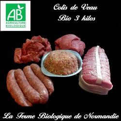Colis de veau fermier bio 3kilos , en direct du producteur la ferme biologique de Normandie.
