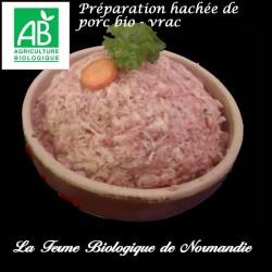 succulente préparation hachée de porc bio poids 300g , vrac, pour vos tomates farcies etc...