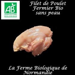 Savoureux filet de poulet bio sans peau, 200g, en direct du producteur, la ferme biologique de Normandie.