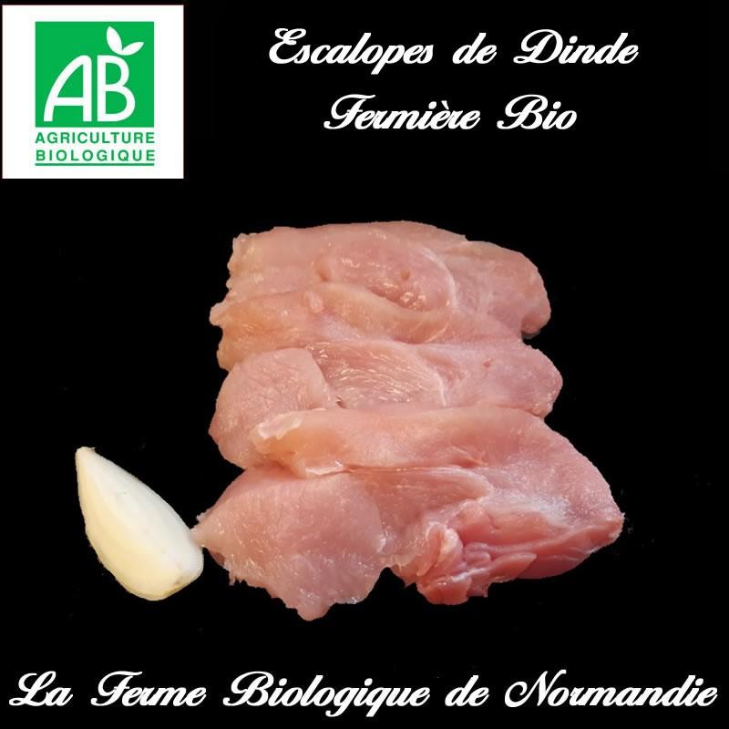 Savoureuses escalopes de dinde fermière bio, 300g, en direct du producteur, la ferme biologique de Normandie.