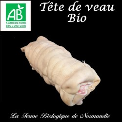 Délicieuse tête de veau bio, poids 1,3 kilo gen direct du producteur, la ferme biologique de Normandie.