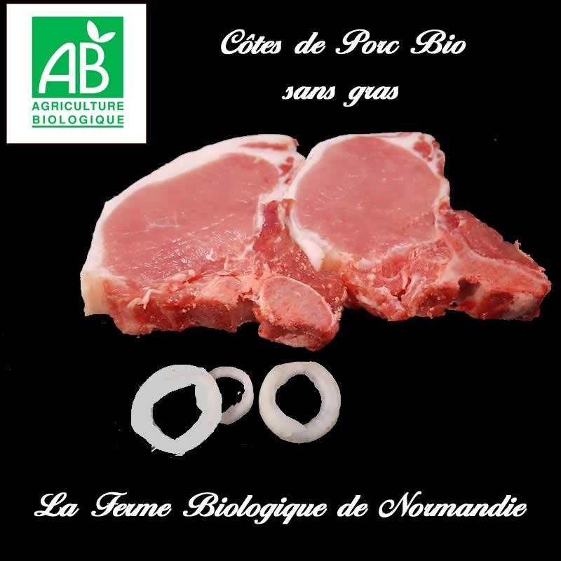 Savoureuses cotes de porc bio sans gras.