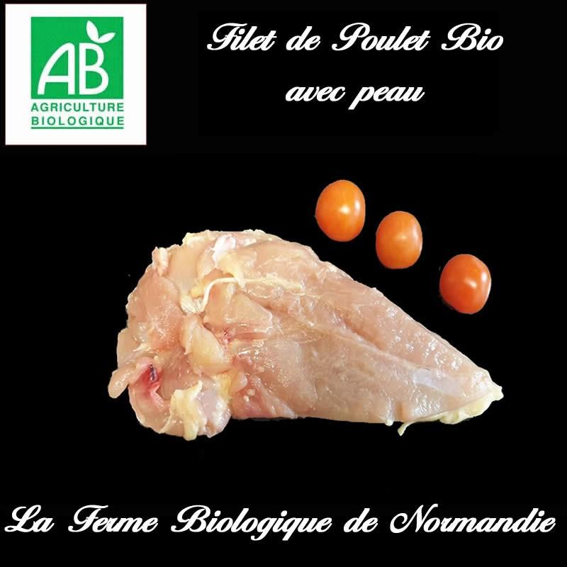 Succulent filet de poulet bio poids 250g, avec peau, en direct du producteur la ferme Biologique de Normandie.