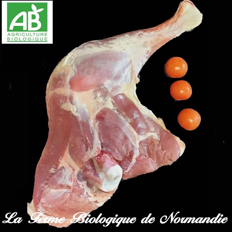 Savoureuse cuisse de poulet fermier bio en direct du producteur la ferme biologique de Normandie.