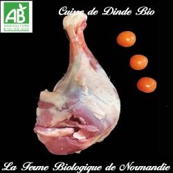 savoureuse demi-cuisse de dinde bio poids 600g en direct du producteur la ferme biologique de Normandie.