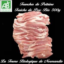 succulentes tranches de poitrine fraiche de porc fermier bio  500g en direct du producteur la ferme biologique de Normandie.