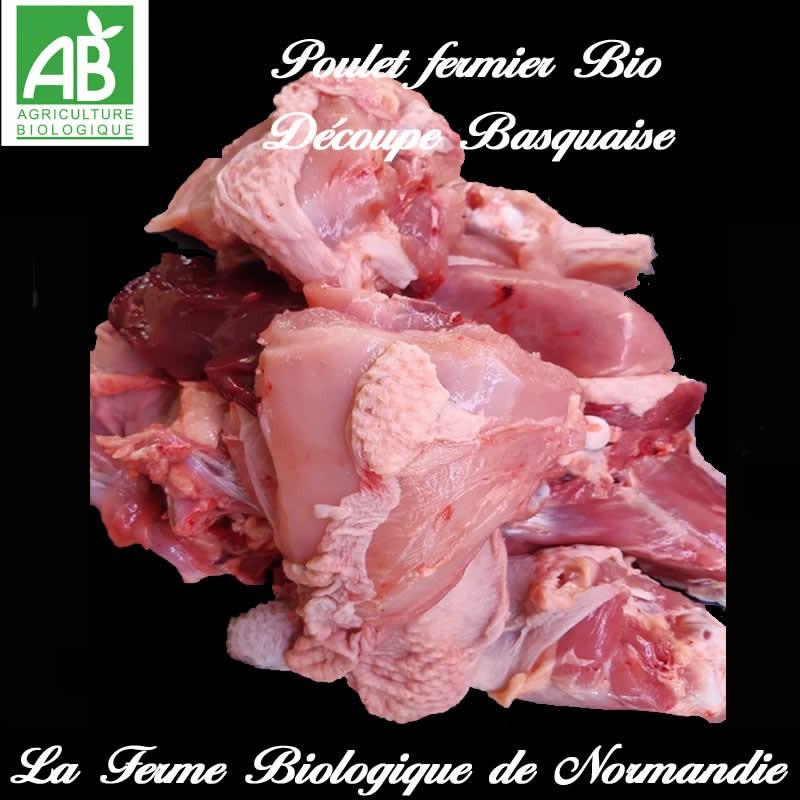 Savoureux poulet fermier bio découpe basquaise, poids 2,6 k  en direct du producteur la ferme biologique de Normandie.