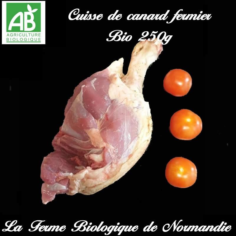 succulente cuisse de canard fermier bio poids 250g en direct du producteur la ferme biologique de Normandie.