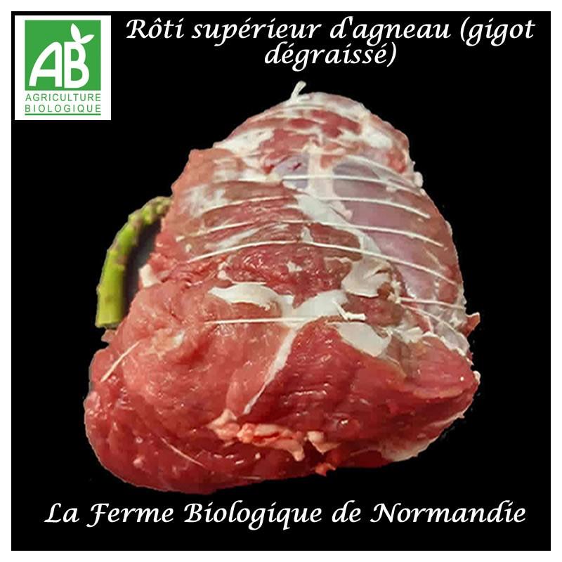 Rôti d'agneau bio supérieur (gigot dégraissé) poids 600g