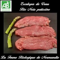 savoureuses escalopes de veau bio poids 300g noix patissière, en direct du producteur la ferme biologique de Normandie.