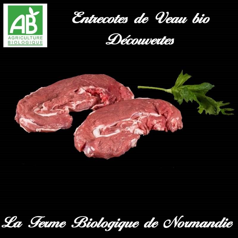 succulente entrecotes veau fermier bio , découvertes, 400g, sans os