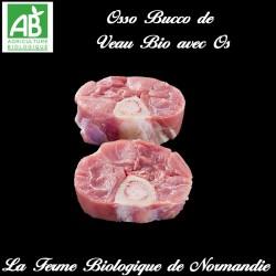 succulent osso bucco de veau fermier bio avec  os poids 600g en direct du producteur la ferme biologique de Normandie.