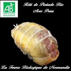 Sublime rôti de pintade  bio (filet) poids 900g avec peau, sans os, 100 % viande, en direct du producteur.