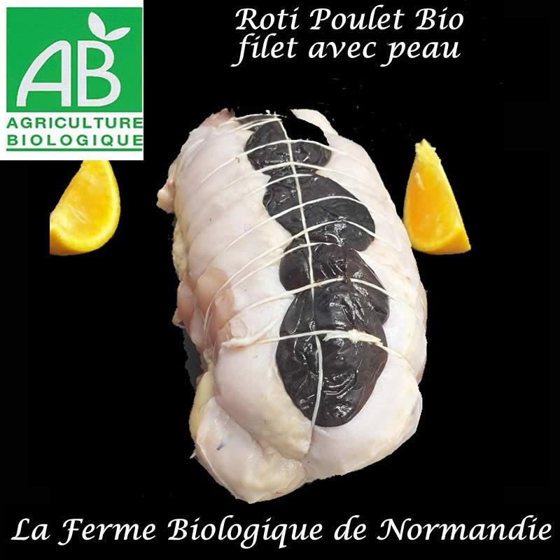 Succulent Rôti de poulet ( filet) bio,  avec pruneaux et peau, 600g, en direct du producteur, la ferme biologique de Normandie
