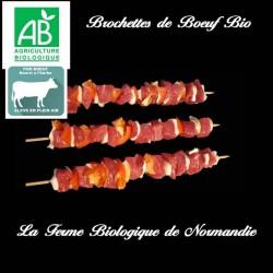 Brochettes de boeuf bio 400 g 4 brochettes en direct du producteur la ferme biologique de Normandie.