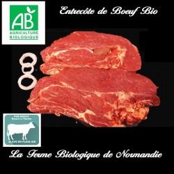 Délicieuse entrecôte de boeuf, bio poids 400g en direct du producteur la ferme biologique de Normandie
