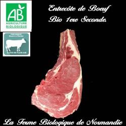 Savoureuse entrecôte boeuf d'herbe bio cotes premières, secondes en direct du producteur la ferme biologique de Normandie.