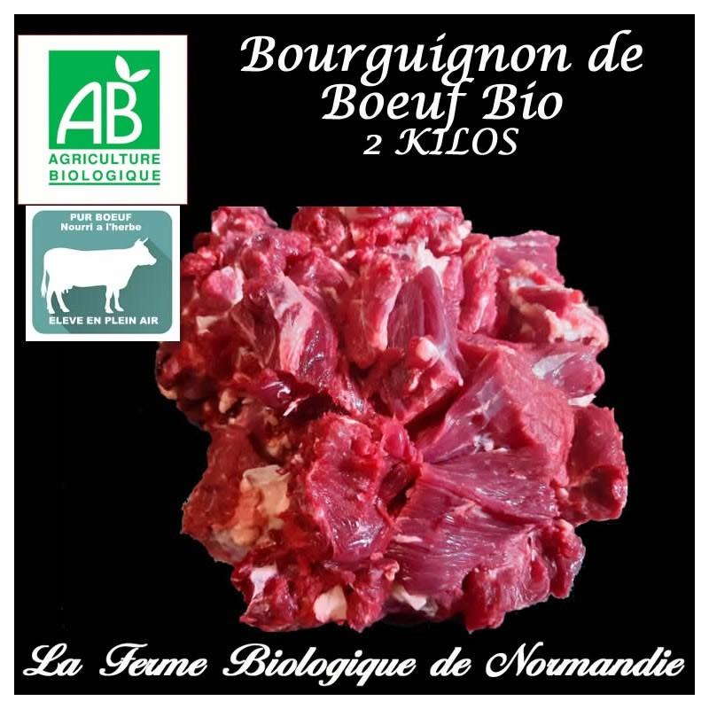 Sublime bourguignon de boeuf d'herbe bio, poids 2 kilos, en direct du producteur la ferme biologique de Normandie.