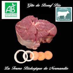 Délicieux gite de boeuf bio, race limousine, sans os  600g en direct du producteur la ferme biologique de Normandie.