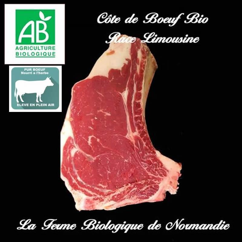 Sublime Côte de Boeuf bio race limousine, 900g En direct du producteur la ferme biologique de Normandie.