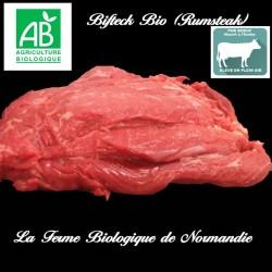 Bifteck bio rumsteak race limousine 300g découpe fine en direct du producteur la ferme biologique de Normandie.
