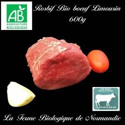 Délicieux rosbif boeuf bio rumsteak 600 grammes en direct du producteur la ferme biologique de Normandie.