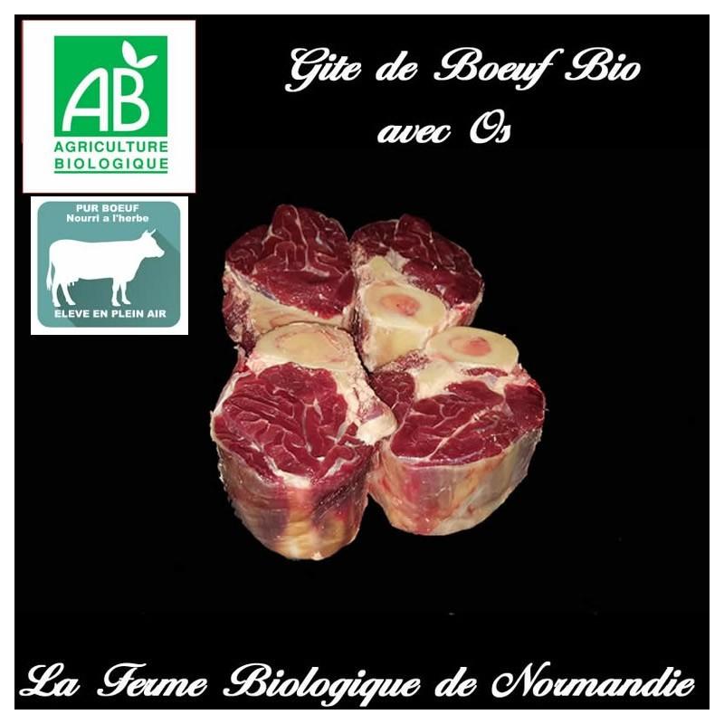 Savoureux gite de boeuf bio avec os 600 grammes en direct du producteur, la ferme biologique de Normandie.