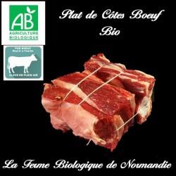 Plat de côtes de boeuf , race limousine, bio, poids 600g en direct du producteur la ferme biologique de Norrmandie.