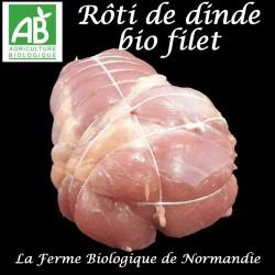 Succulent rôti de dinde bio (filet) poids 900g sans peau , en direct du producteur, la ferme biologique de Normandie.