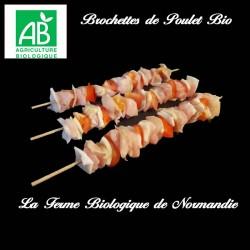 savoureuses brochettes de poulet bio 600g   6 brochettes