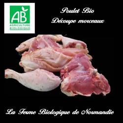 Savoureux poulet femier bio découpe morceaux, poids 2,6 kilos