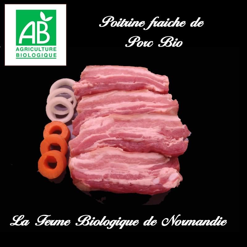Délicieuses poitrine fraiche de porc bio, poids 600g