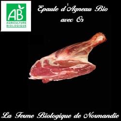 Délicieuse épaule d'agneau bio avec os poids 1,8 k en direct du producteur.