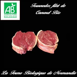 Succulent tournedos de filet de canard bio poids 200g en direct du producteur.