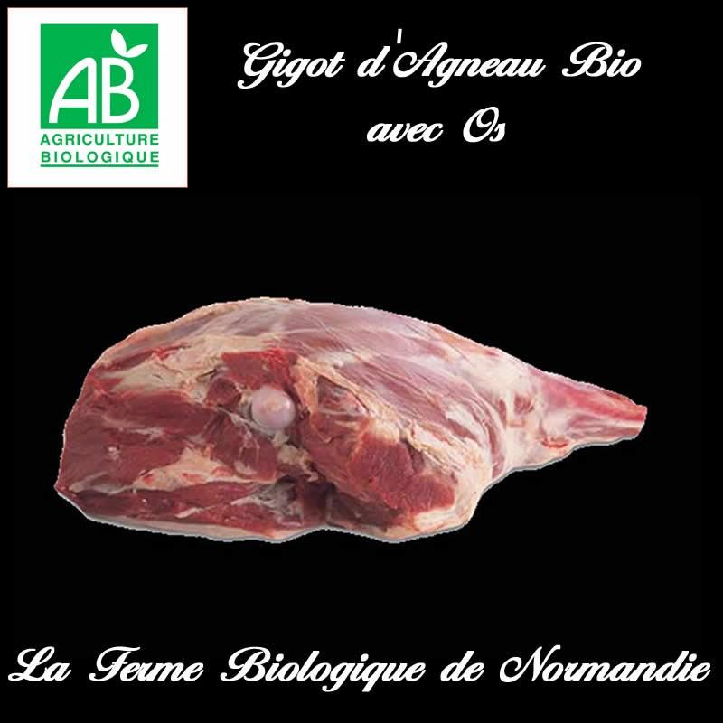 Succulent gigot d'agneau bio avec os, poids 2,9kilos en direct du producteur.