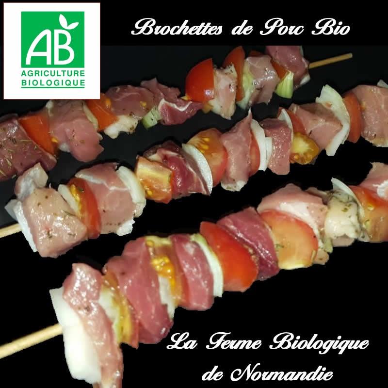 Savoureuses brochettes de porc bio par 4 (400g) en direct du producteur