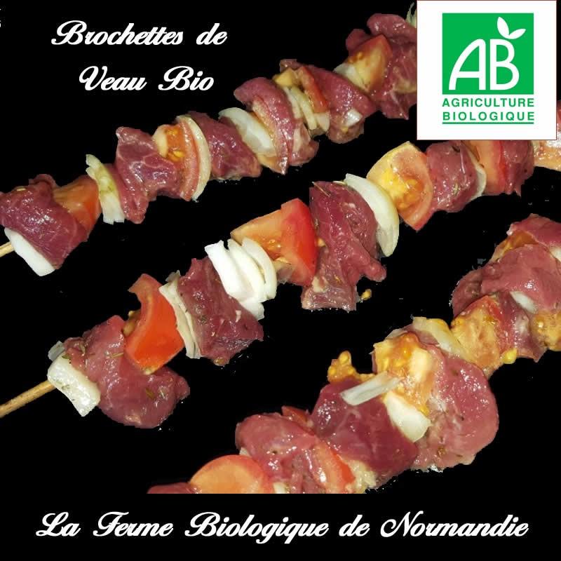Succulentes brochettes de veau bio, 4 pièces, 400g, en direct du producteur.