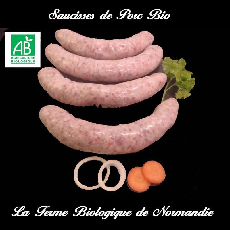 Succulents saucisses de porc Bio 500 grammes