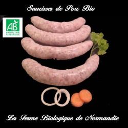 succulentes saucisses de porc bio  poids 1 kilo, en direct du producteur la ferme biologique de Normandie