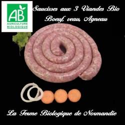 Délicieuses saucisses aux trois viandes (boeuf, veau, agneau) bio en direct du producteur.