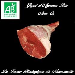 Savoureux gigot d'agneau bio avec os , 1,2 kilos à rôtir