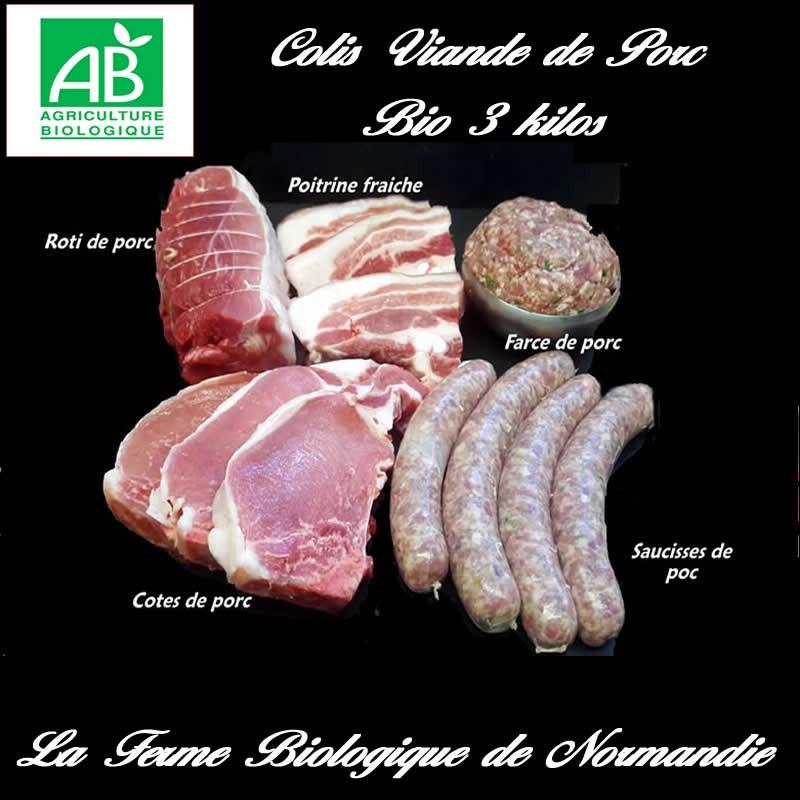 Colis économique viande de porc fermier bio 3 kilos